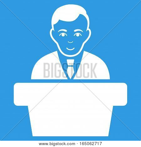 Politician vector icon. Flat white symbol. Pictogram is isolated on a blue background. Designed for web and software interfaces.