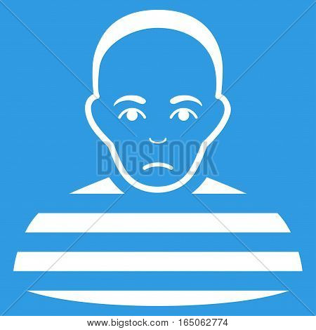 Prisoner vector icon. Flat white symbol. Pictogram is isolated on a blue background. Designed for web and software interfaces.