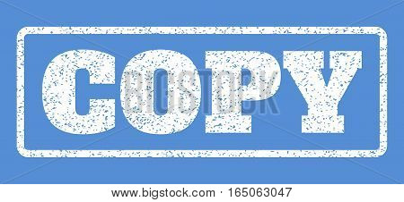 White rubber seal stamp with Copy text. Vector tag inside rounded rectangular banner. Grunge design and unclean texture for watermark labels. Horisontal sticker on a blue background.