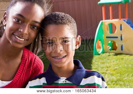 Portrait of an African American brother and sister.