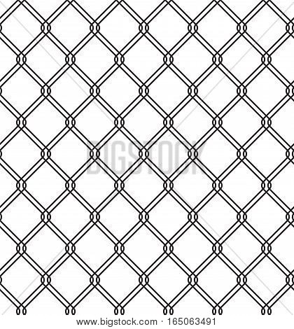 Wired metallic fence seamless texture. Steel wire mesh isolated on white background. Vector repeating pattern in EPS8 format.