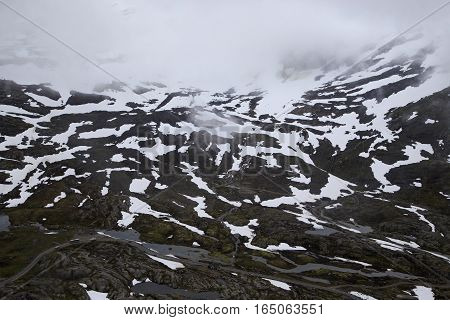 This is an aerial view of the surrounding mountains during the ascent to Mount Dalsnibba Norway.