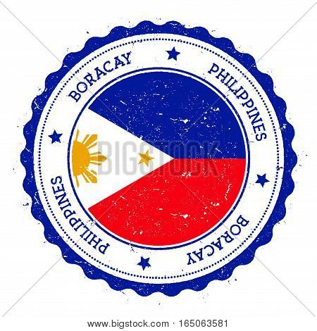 Boracay Flag Badge. Vintage Travel Stamp With Circular Text, Stars And Island Flag Inside It. Vector