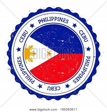 Cebu Flag Badge. Vintage Travel Stamp With Circular Text, Stars And Island Flag Inside It. Vector Il