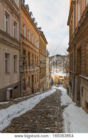 Small narrow street of town Karlovy Vary in Czech Republic