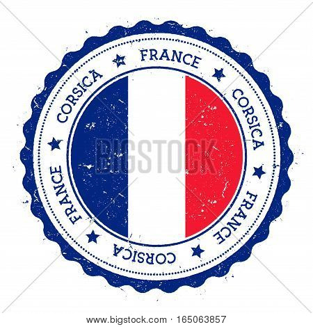 Corsica Flag Badge. Vintage Travel Stamp With Circular Text, Stars And Island Flag Inside It. Vector