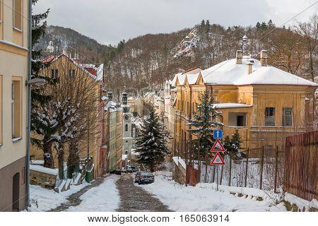 KARLOVY VARY, CZECH REPUBLIC - 12.01.2017: Small narrow street of town Karlovy Vary in Czech Republic