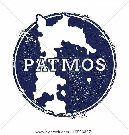 Patmos Vector Map. Grunge Rubber Stamp With The Name And Map Of Island, Vector Illustration. Can Be