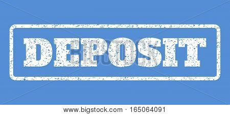 White rubber seal stamp with Deposit text. Vector message inside rounded rectangular shape. Grunge design and dirty texture for watermark labels. Horisontal emblem on a blue background.