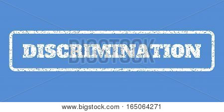 White rubber seal stamp with Discrimination text. Vector message inside rounded rectangular banner. Grunge design and scratched texture for watermark labels. Horisontal emblem on a blue background.
