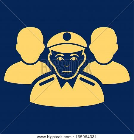 Army Team vector icon. Flat yellow symbol. Pictogram is isolated on a blue background. Designed for web and software interfaces.