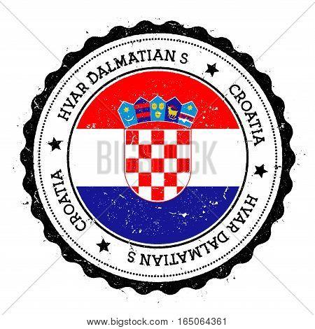 Hvar & Dalmatian Islands Flag Badge. Vintage Travel Stamp With Circular Text, Stars And Island Flag