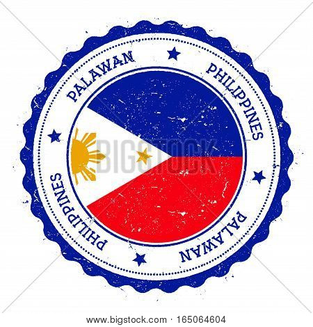 Palawan flag badge. Vintage travel stamp with circular text stars and island flag inside it. Vector illustration. poster