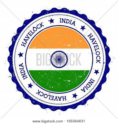 Havelock Island Flag Badge. Vintage Travel Stamp With Circular Text, Stars And Island Flag Inside It