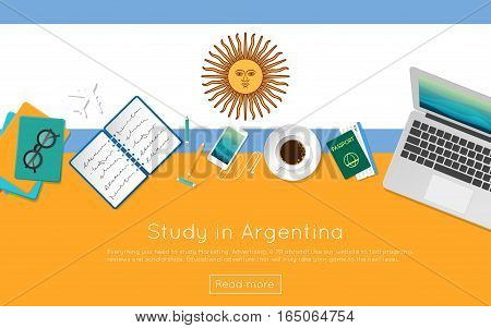 Study In Argentina Concept For Your Web Banner Or Print Materials. Top View Of A Laptop, Books And C