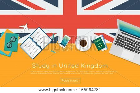 Study In United Kingdom Concept For Your Web Banner Or Print Materials. Top View Of A Laptop, Books
