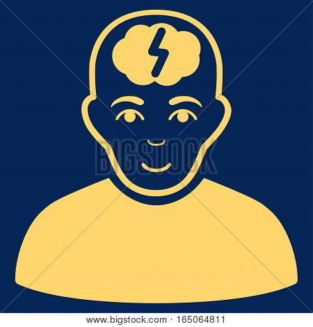 Clever Boy vector icon. Flat yellow symbol. Pictogram is isolated on a blue background. Designed for web and software interfaces.