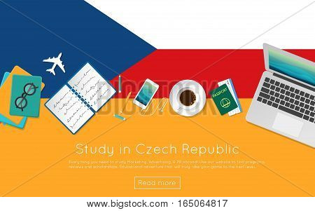 Study In Czech Republic Concept For Your Web Banner Or Print Materials. Top View Of A Laptop, Books