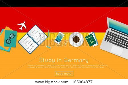 Study In Germany Concept For Your Web Banner Or Print Materials. Top View Of A Laptop, Books And Cof