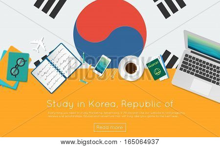 Study In Korea, Republic Of Concept For Your Web Banner Or Print Materials. Top View Of A Laptop, Bo