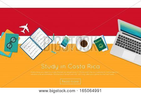 Study In Costa Rica Concept For Your Web Banner Or Print Materials. Top View Of A Laptop, Books And