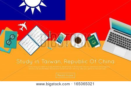 Study In Taiwan, Republic Of China Concept For Your Web Banner Or Print Materials. Top View Of A Lap