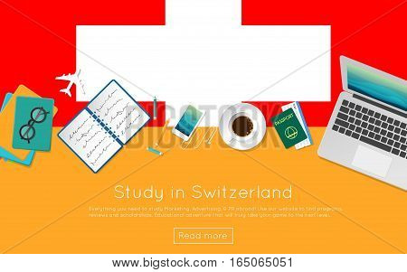 Study In Switzerland Concept For Your Web Banner Or Print Materials. Top View Of A Laptop, Books And