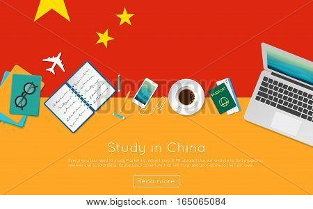 Study In China Concept For Your Web Banner Or Print Materials. Top View Of A Laptop, Books And Coffe