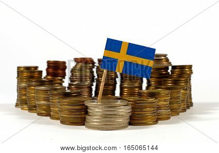Sweden Flag Waving With Stack Of Money Coins