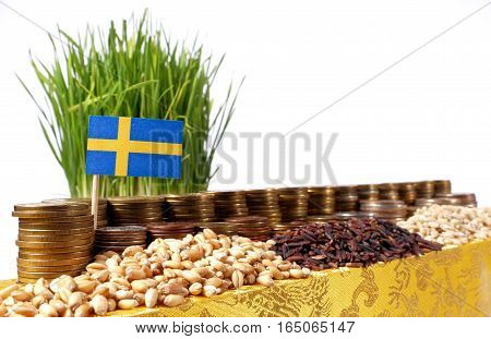 Sweden Flag Waving With Stack Of Money Coins And Piles Of Wheat And Rice Seeds