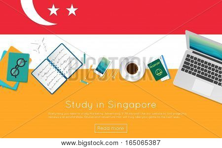 Study In Singapore Concept For Your Web Banner Or Print Materials. Top View Of A Laptop, Books And C