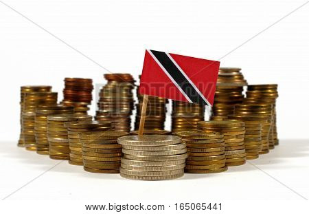 Trinidad And Tobago Flag Waving With Stack Of Money Coins