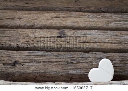 White Heart On Wood