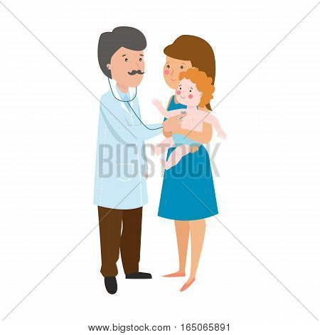 Pediatrician doctor examining child vector illustration. Young mother holding baby patient in her hands. People healthcare care medicine professional concept.