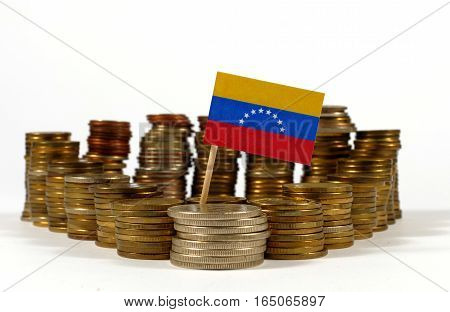 Venezuela Flag Waving With Stack Of Money Coins