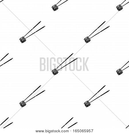 Chopsticks icon in  black style isolated on white background. Sushi pattern vector illustration. - stock vector