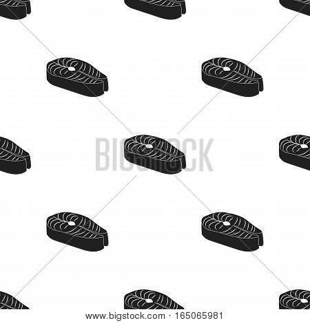 Steak icon in  black style isolated on white background. Sushi pattern stock vector illustration. - stock vector
