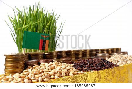 Zambia Flag Waving With Stack Of Money Coins And Piles Of Wheat And Rice Seeds