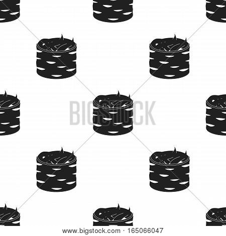 Gunkan maki icon in  black style isolated on white background. Sushi pattern vector illustration. - stock vector