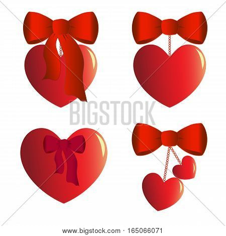 Four heart charms with bows, ribbons and chains. Gift for Valentine s day. Vector illustration