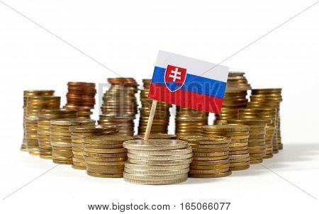 Slovakia Flag Waving With Stack Of Money Coins