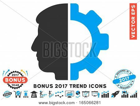 Blue And Gray Android Head pictograph with bonus 2017 trend clip art. Vector illustration style is flat iconic bicolor symbols white background.
