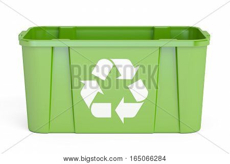 Green recycling bin 3D rendering isolated on white background