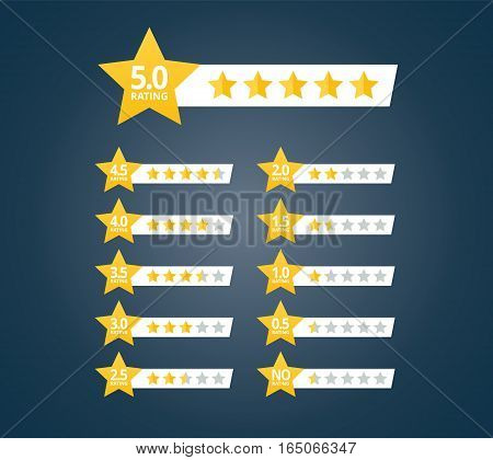 Stars rating design elements kit. Set of star shapes for ranking interface. Voting symbols from zero to ten points. Vector illustration in flat style.