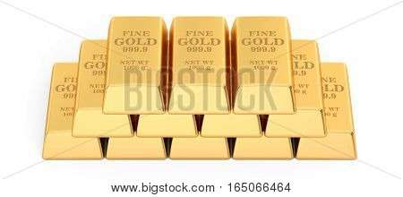 set of Gold bars 3D rendering isolated on white background