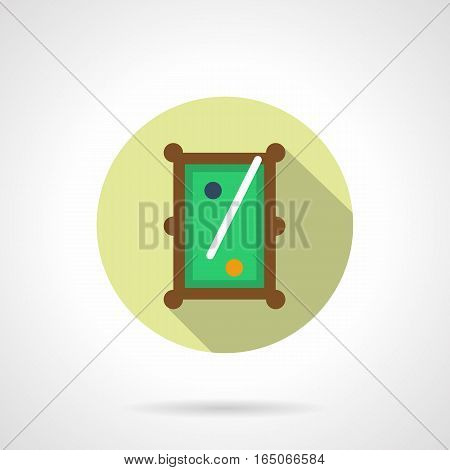 A top view of pool table with green felt, wooden rails, single cue, blue and orange balls. Snooker, carom and other billiards games. Round flat design vector icon.