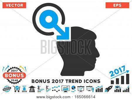 Blue And Gray Brain Interface Plug-In pictogram with bonus 2017 year trend pictograph collection. Vector illustration style is flat iconic bicolor symbols white background.