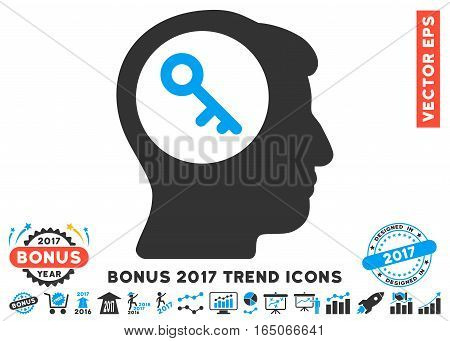 Blue And Gray Brain Key icon with bonus 2017 year trend icon set. Vector illustration style is flat iconic bicolor symbols white background.