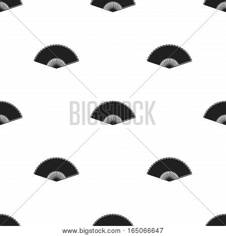 Folding fan icon in  black style isolated on white background. Theater pattern vector illustration