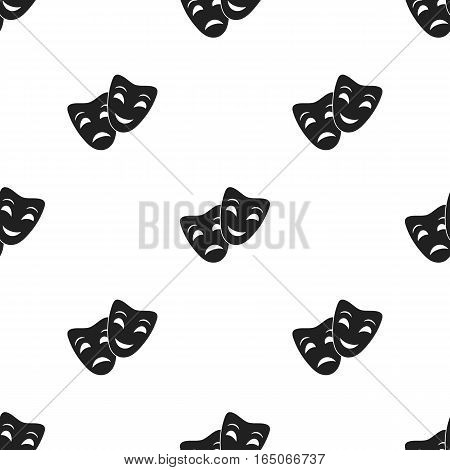 Theater masks icon in  black style isolated on white background. Theater pattern vector illustration